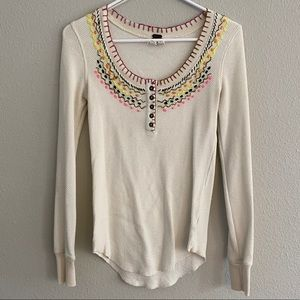 Free People Embroidered Thermal Henley Sz M